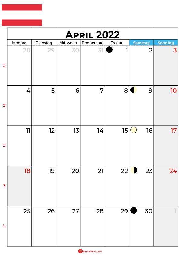 april 2022 kalender Österreich