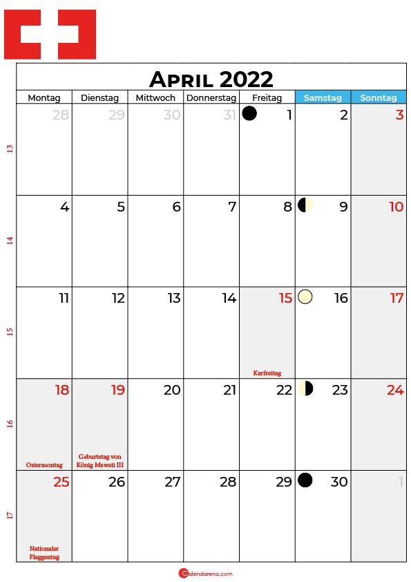 april 2022 kalender Schweiz
