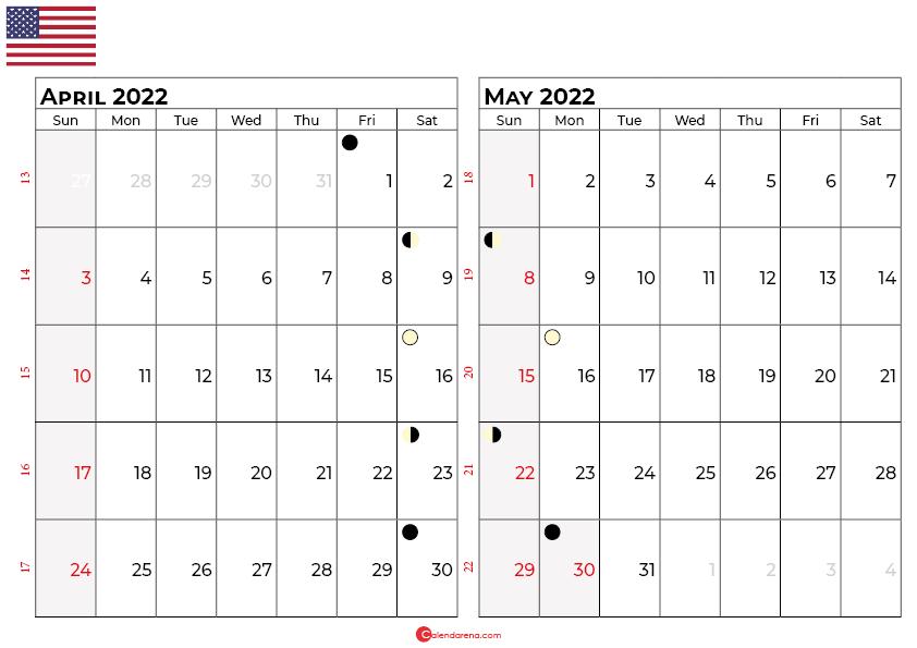 april and may 2022 calendar usa