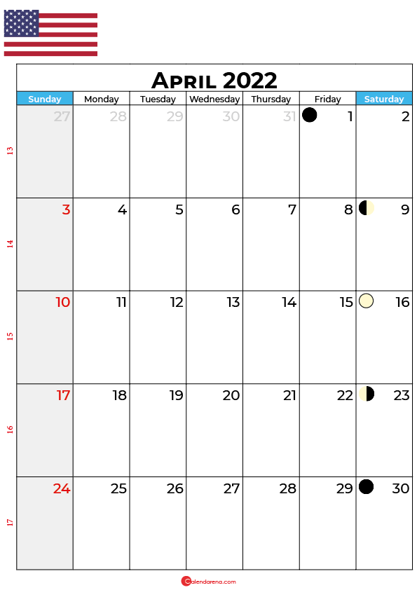 april calendar 2022 united states