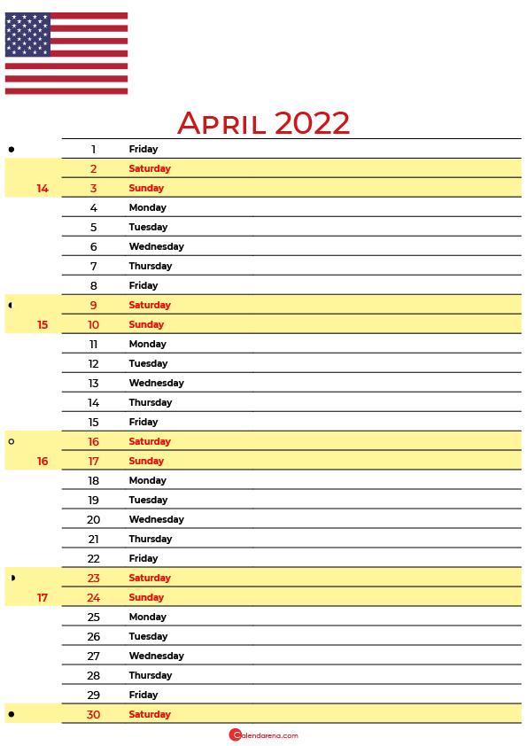 calendar april 2022 USA