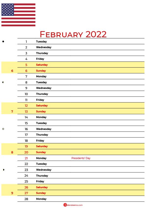 calendar february 2022 USA