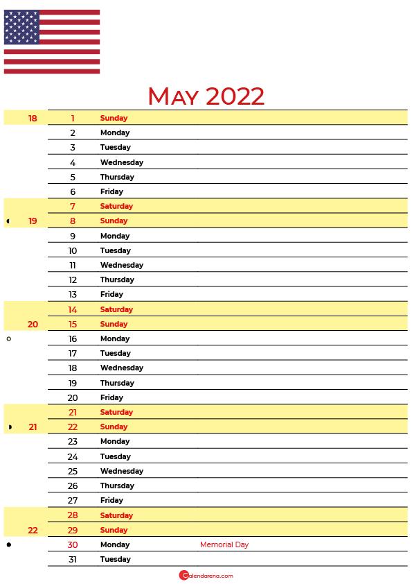 calendar may 2022 USA