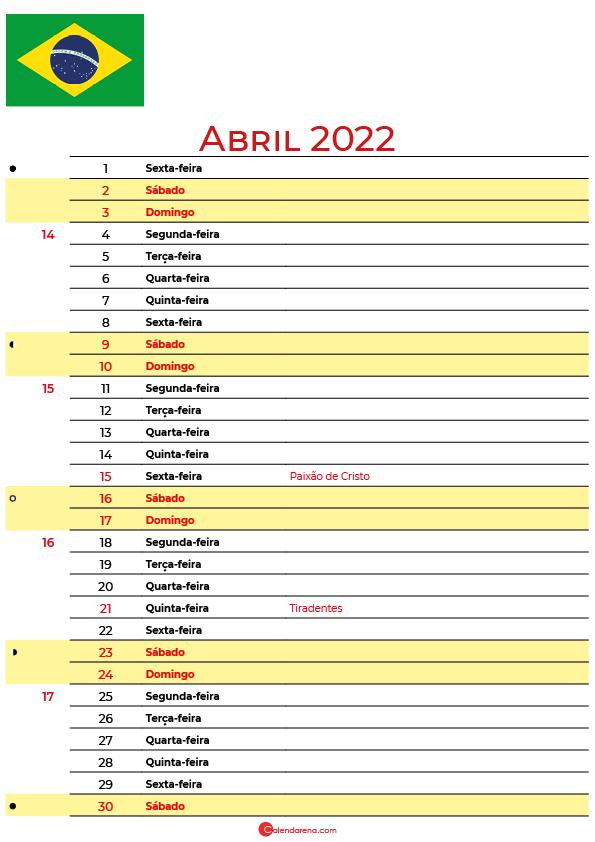 calendário 2022 Abril brasil