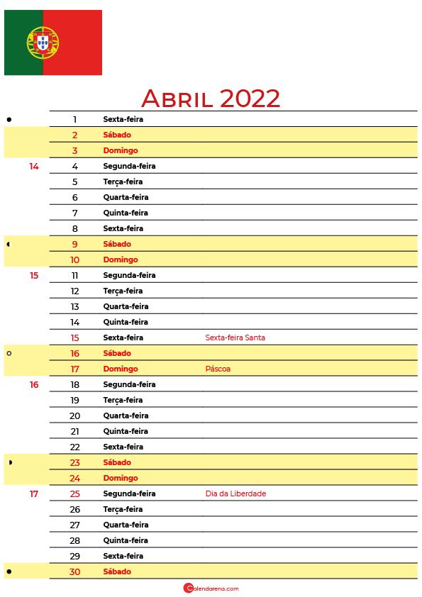 calendário 2022 Abril portugal