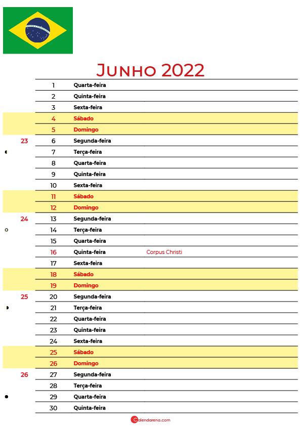 calendário 2022 Junho brasil