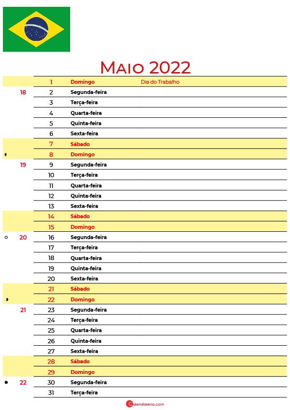 calendário 2022 Maio brasil