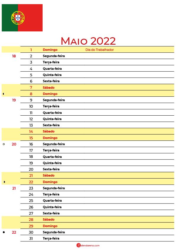 calendário 2022 Maio portugal