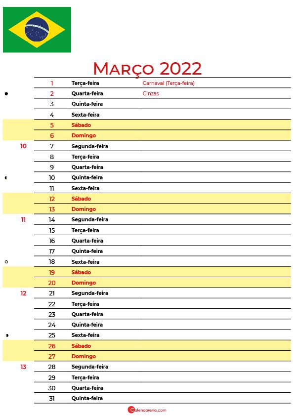 calendário 2022 Março brasil