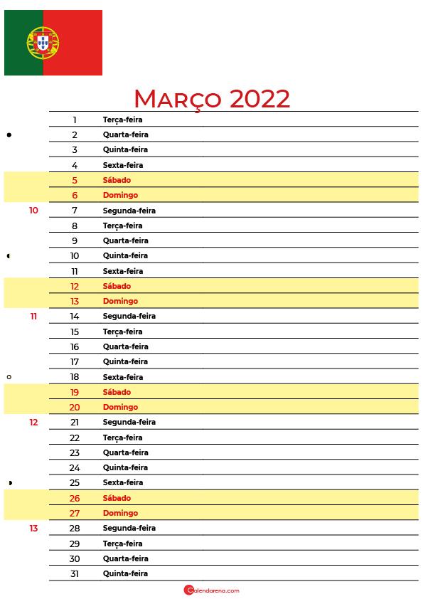 calendário 2022 Março portugal