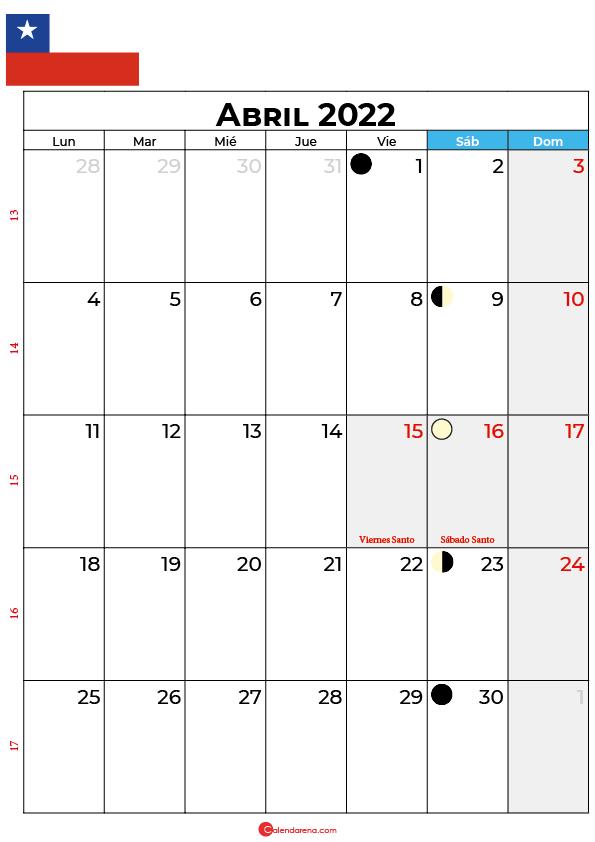 calendario 2022 abril Chile