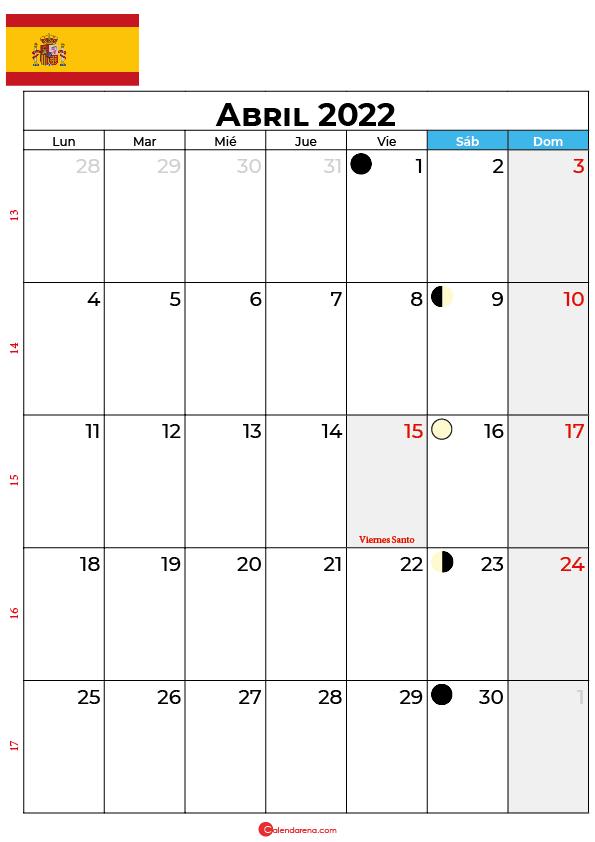 calendario 2022 abril España
