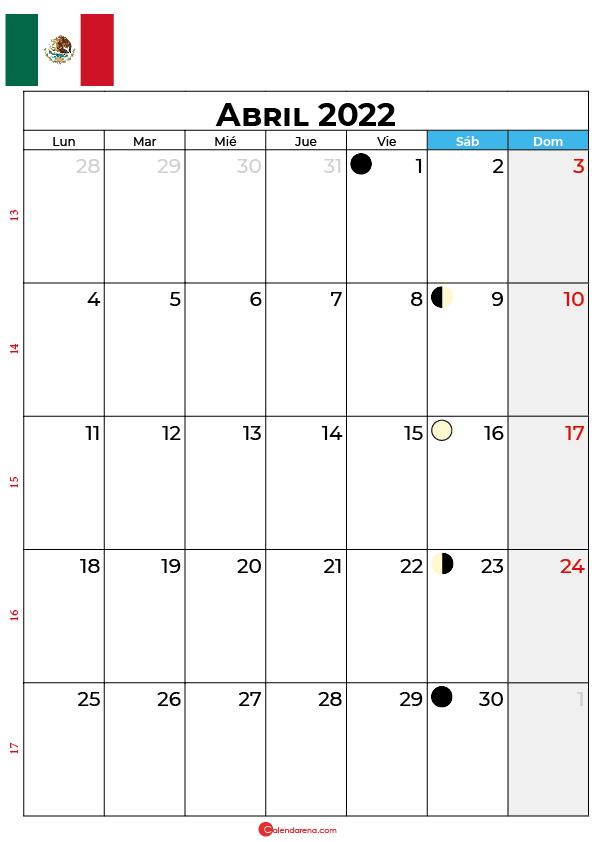 calendario 2022 abril México