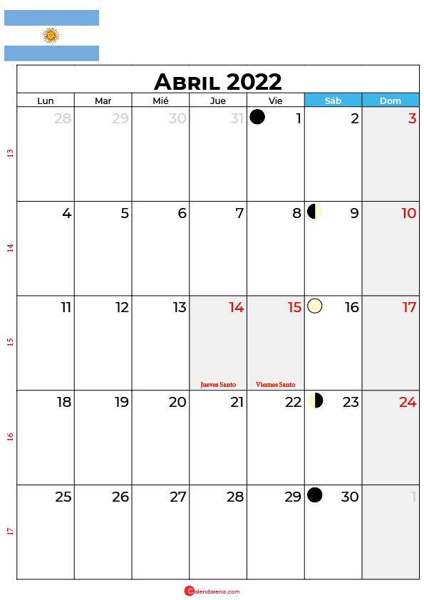 calendario 2022 abril argentina