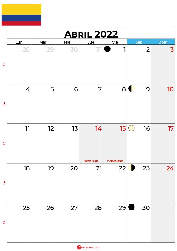 calendario 2022 abril colombia