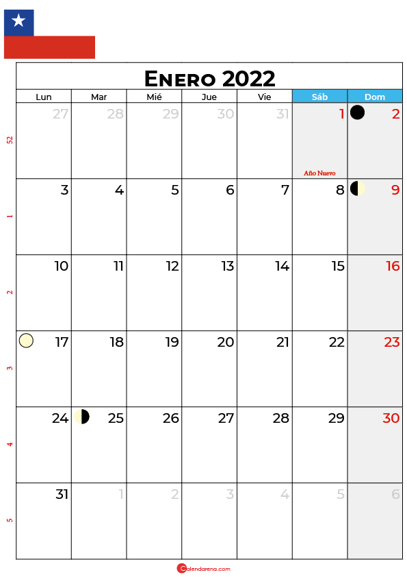 calendario 2022 enero Chile