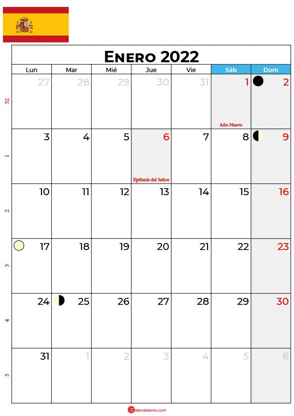 calendario 2022 enero España