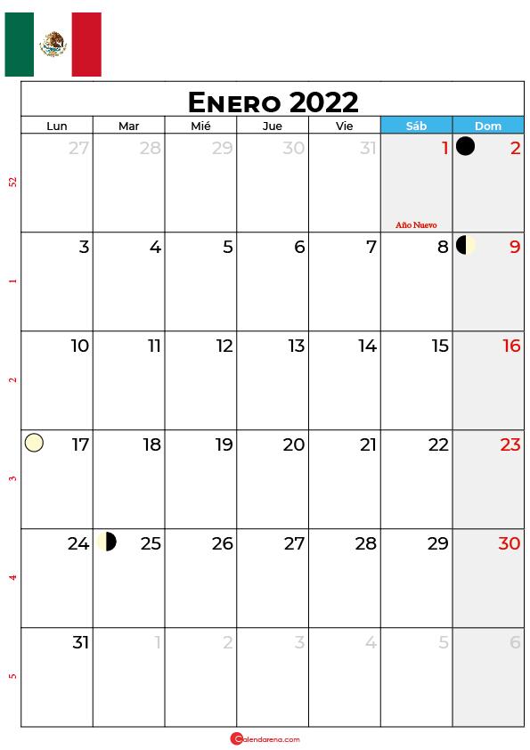 calendario 2022 enero México