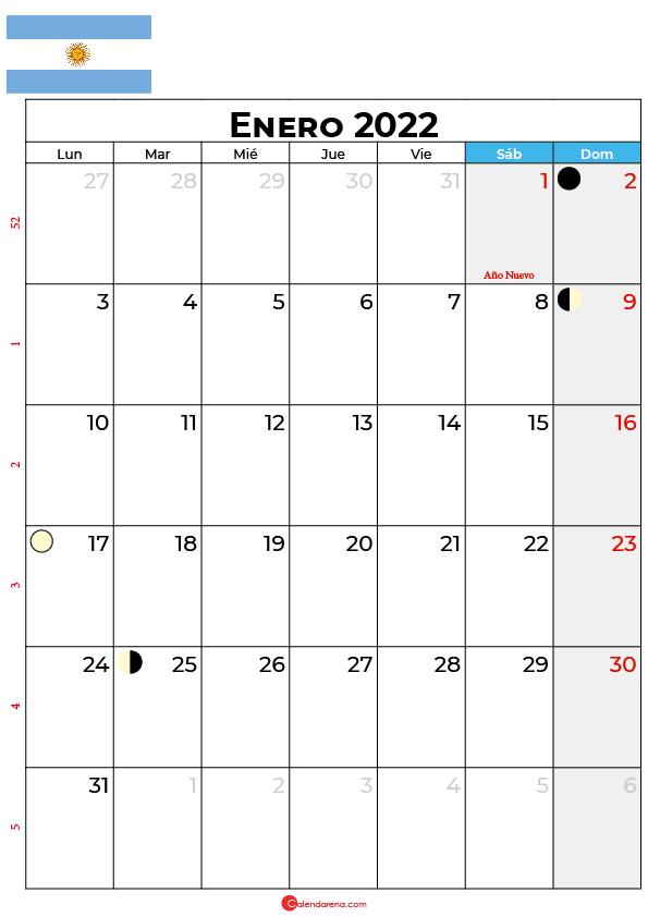 calendario 2022 enero argentina