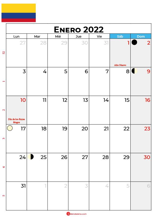calendario 2022 enero colombia