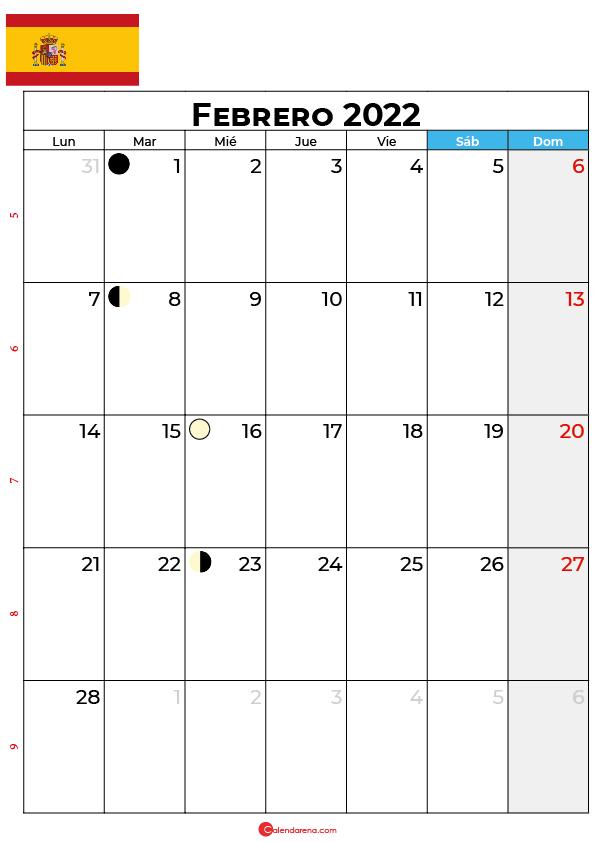 calendario 2022 febrero España