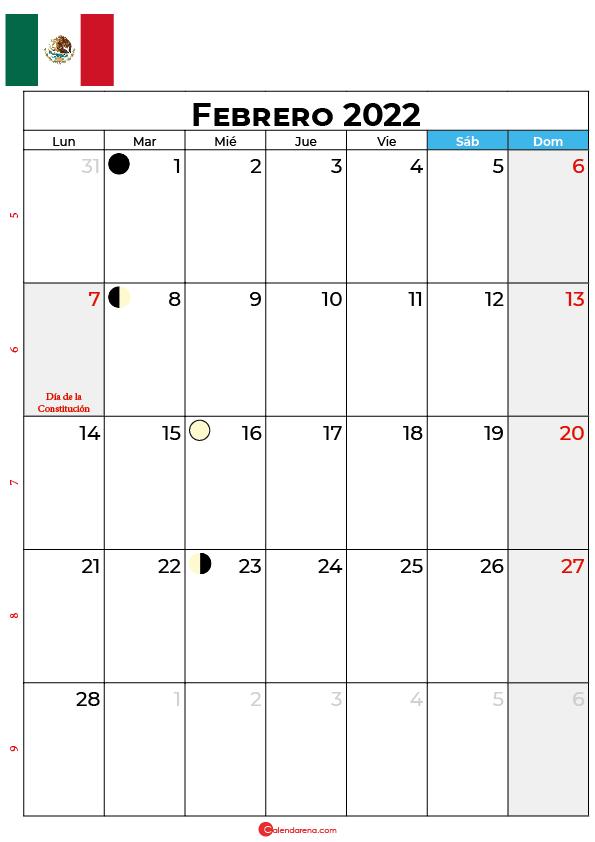 calendario 2022 febrero México