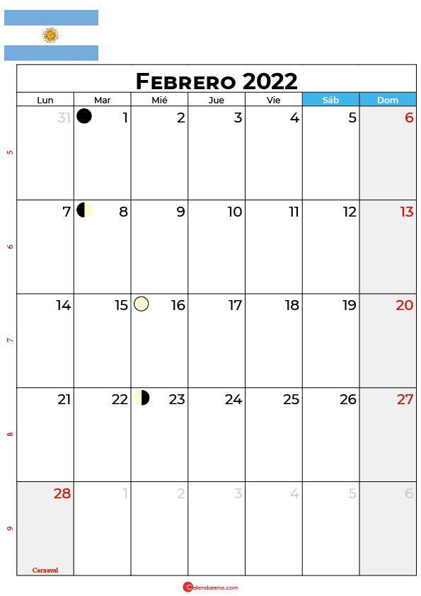 calendario 2022 febrero argentina