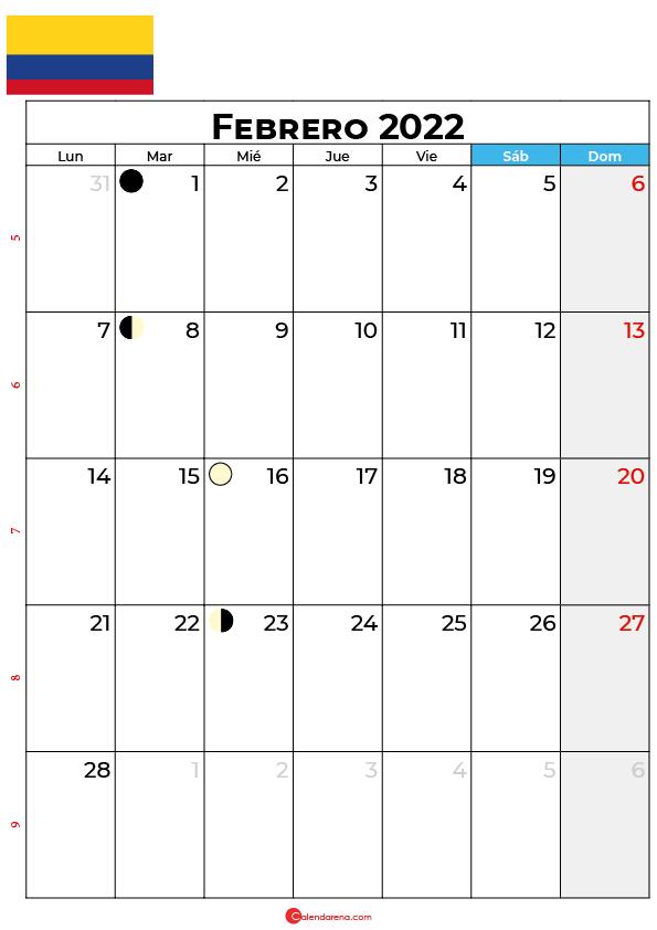 calendario 2022 febrero colombia