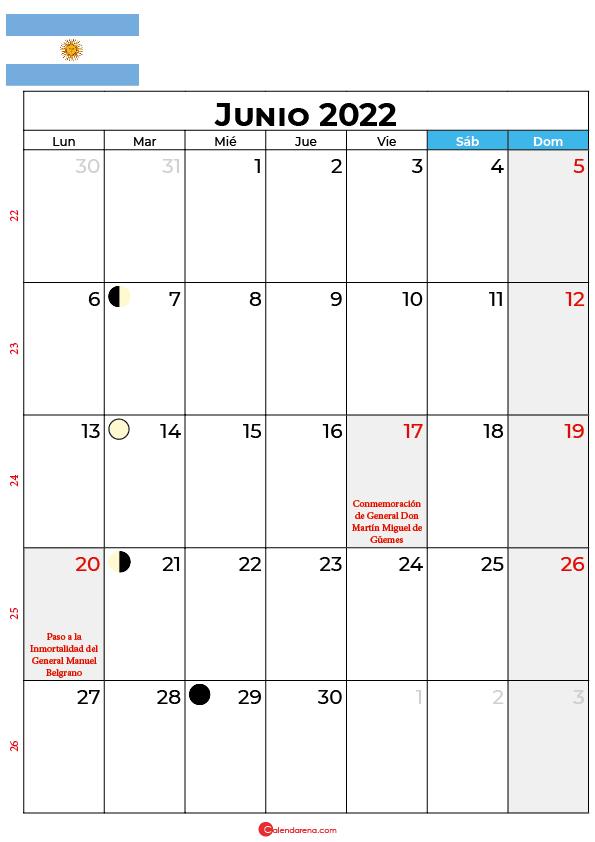 calendario 2022 junio argentina