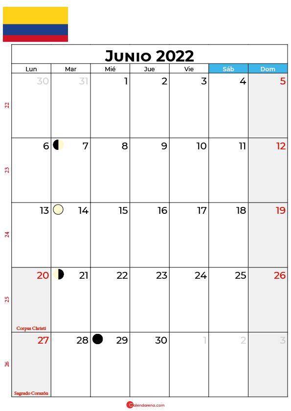 calendario 2022 junio colombia