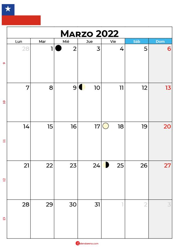 calendario 2022 marzo Chile