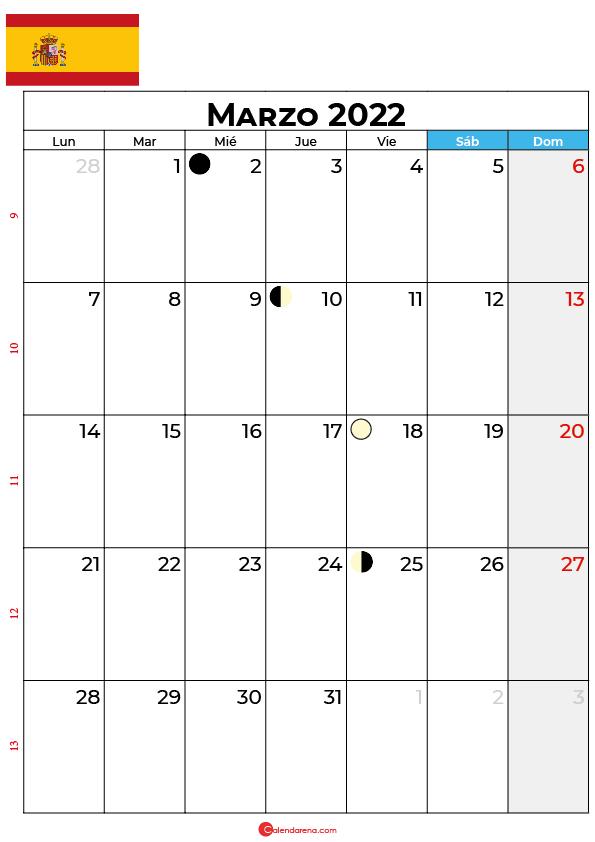 calendario 2022 marzo España