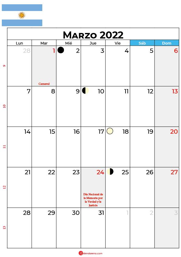 calendario 2022 marzo argentina
