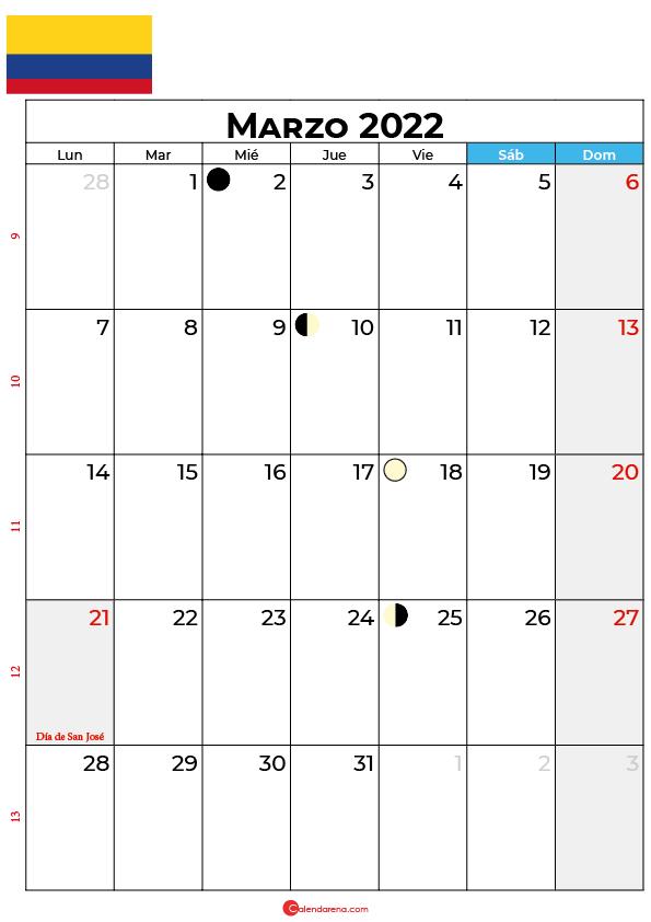 calendario 2022 marzo colombia
