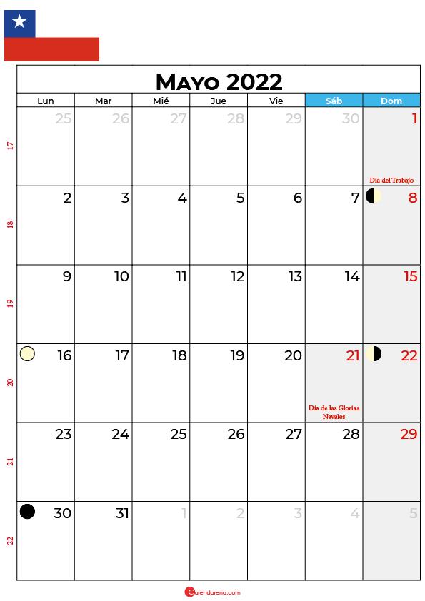 calendario 2022 mayo Chile