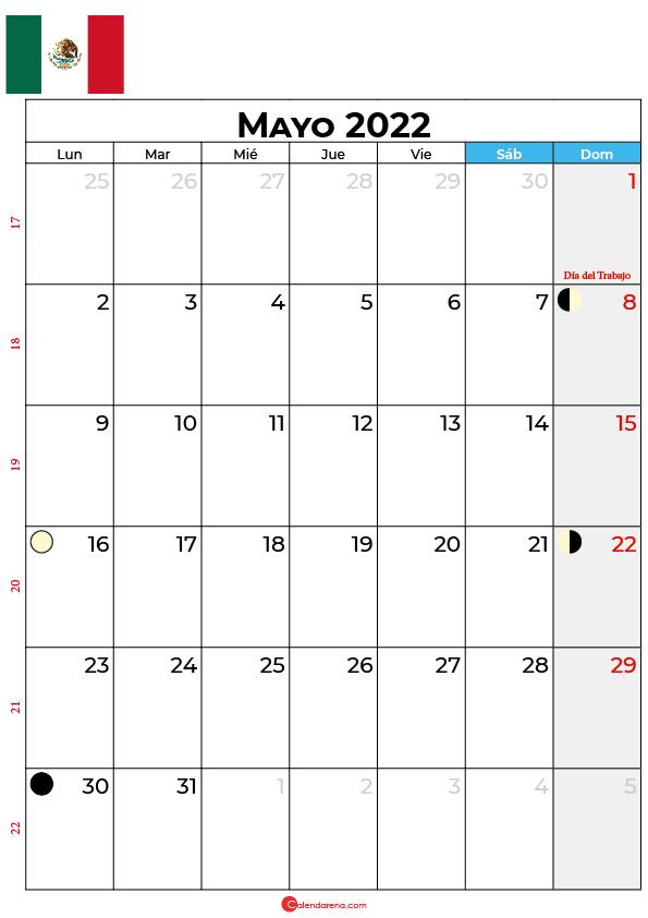 calendario 2022 mayo México