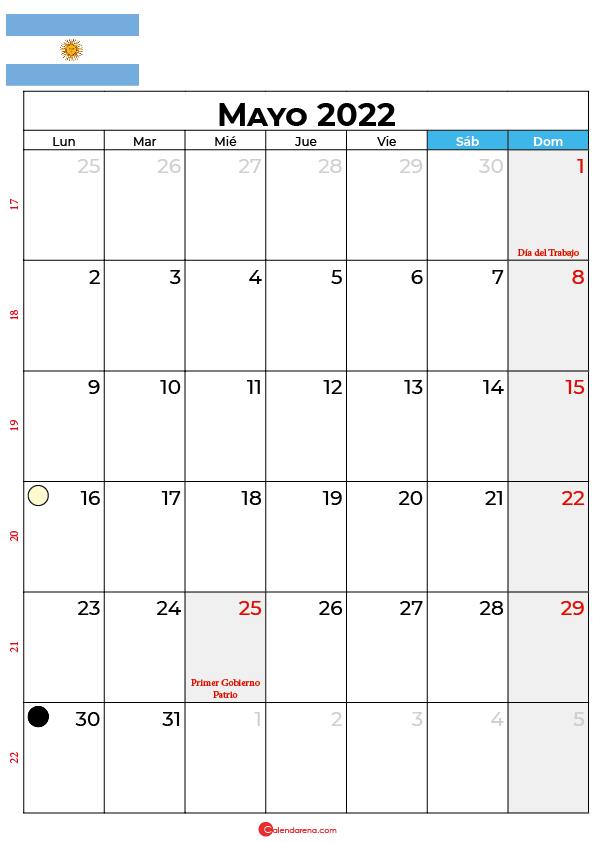 calendario 2022 mayo argentina