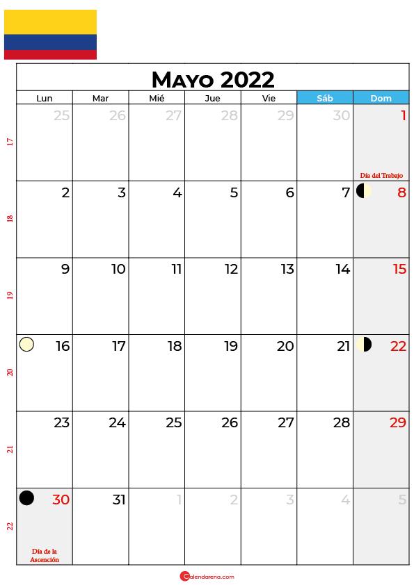 calendario 2022 mayo colombia