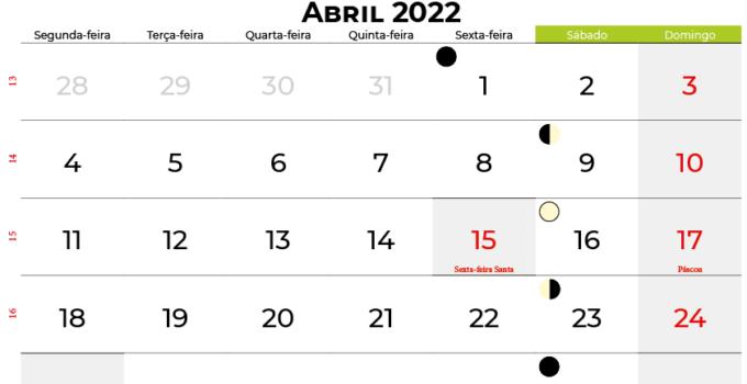 calendario Abril 2022portugal