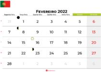 calendario Fevereiro 2022portugal