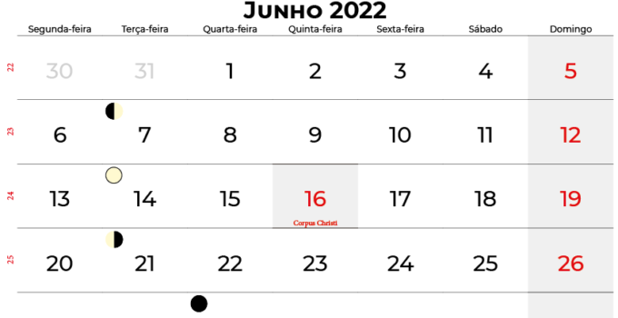 calendario Junho 2022 brasil