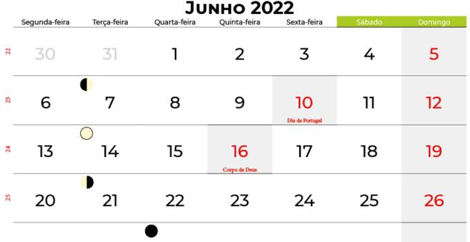 calendario Junho 2022portugal
