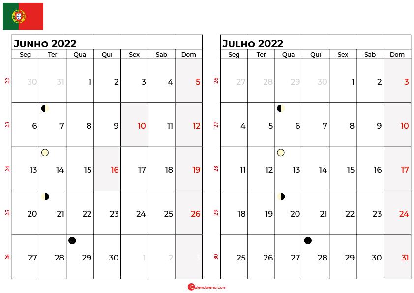calendario Junho e Julho 2022 portugal