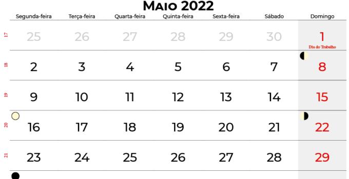 calendario Maio 2022 brasil