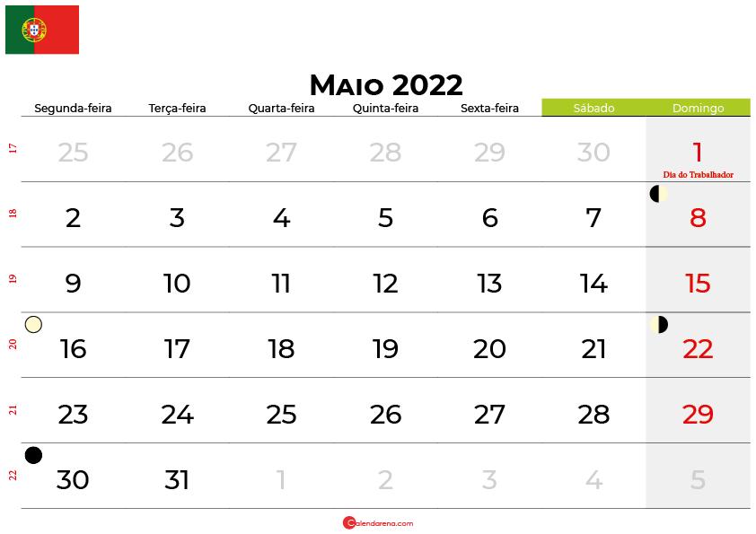calendario Maio 2022portugal