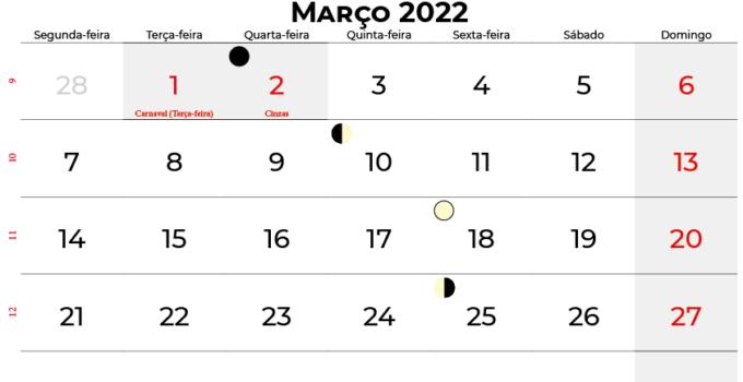 calendario Março 2022 brasil