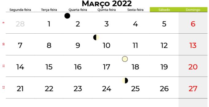 calendario Março 2022portugal