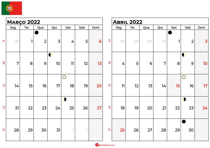calendario Março e abril 2022 portugal