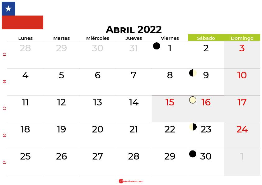 calendario abril 2022 Chile