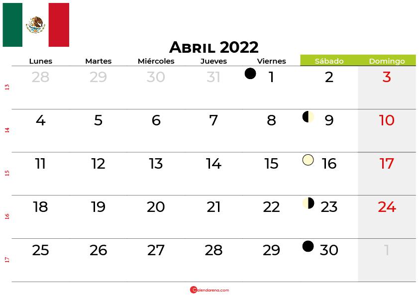 calendario abril 2022 México